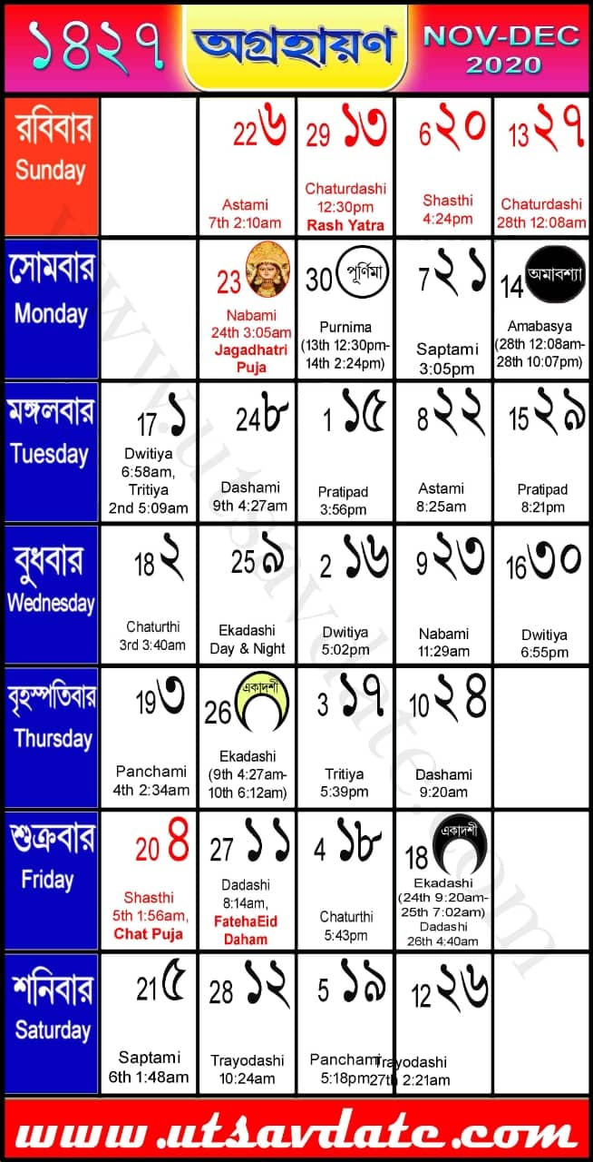 Bengali Calendar Agrahan 1427, Festivals And Marriage Dates