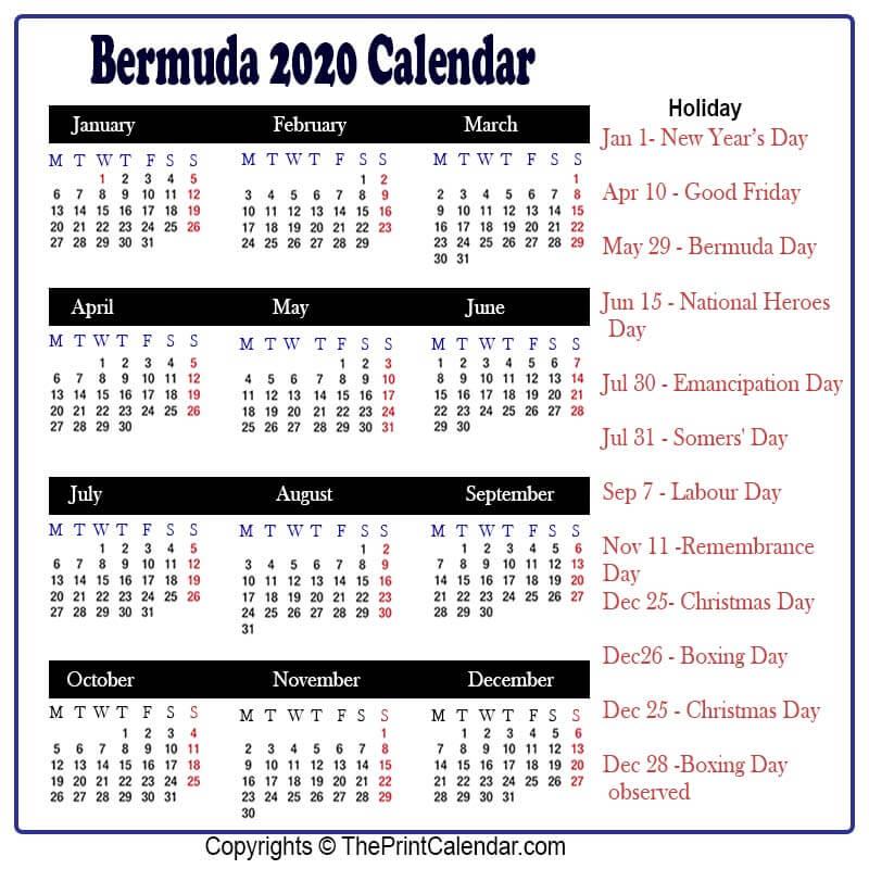 Bermuda 2020 Yearly Printable Calendar