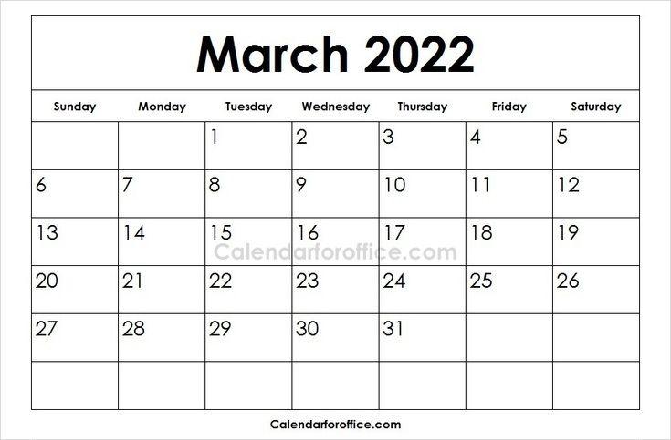 Blank 2022 March Calendar Template