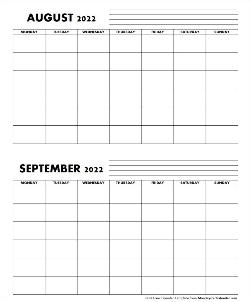 Blank August September 2022 Calendar Monday Start