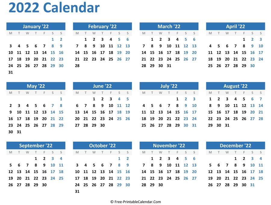 Blank Yearly Calendar 2022 (Horizontal Layout)