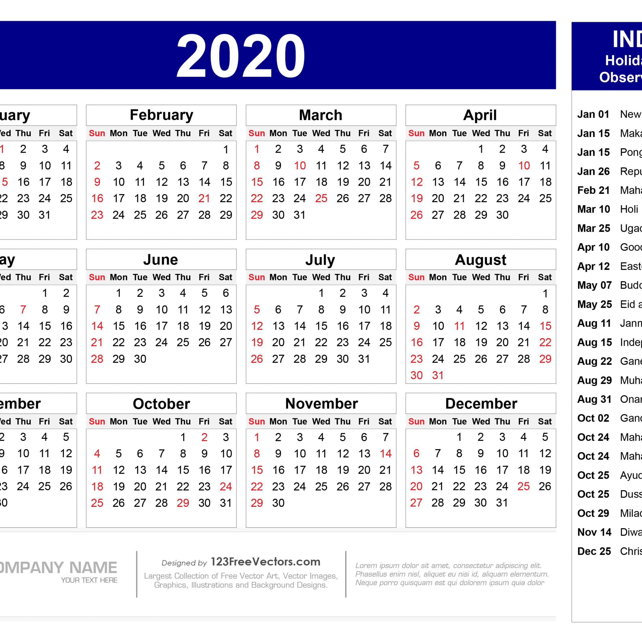 Calendar 2020 Hindu