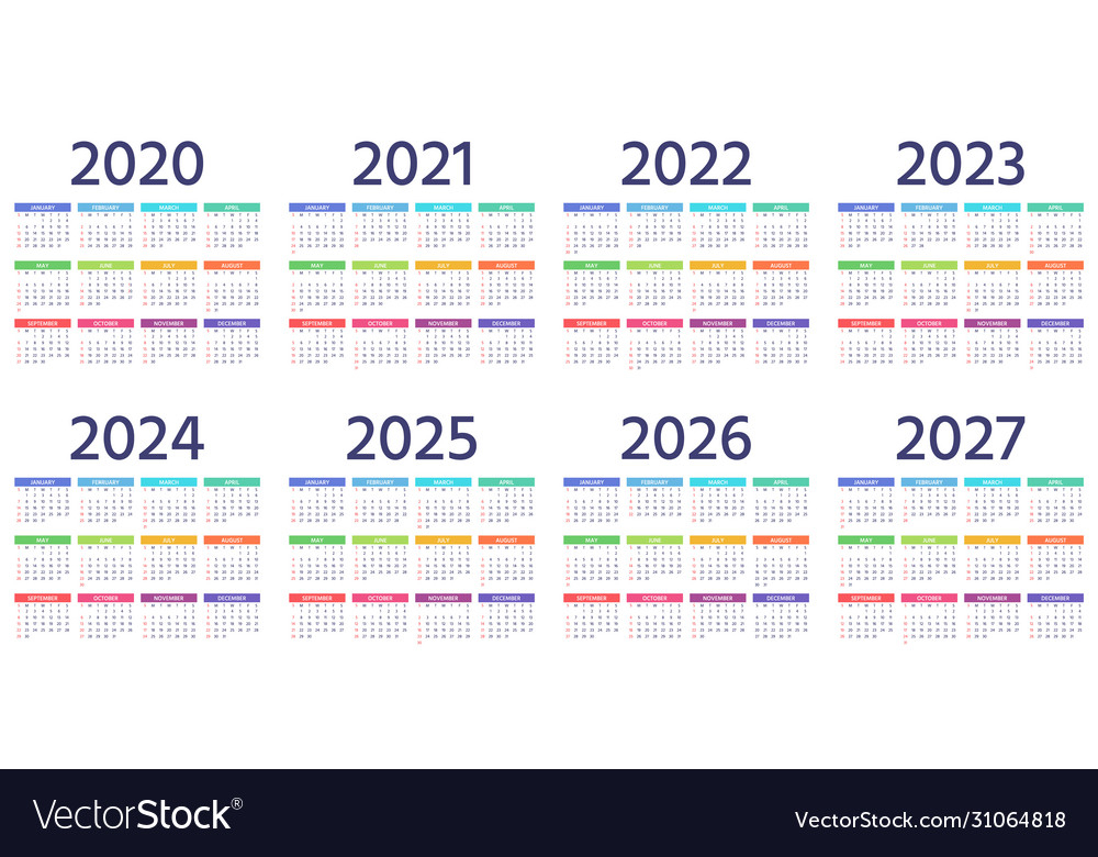 Calendar 2021 2022 2023 2024 2025 2026 2027 2020 Vector Image