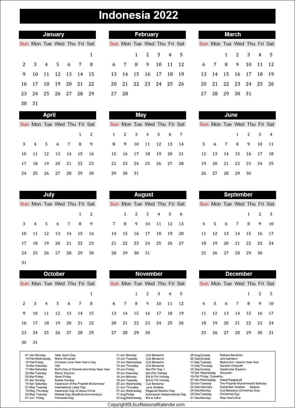Calendar 2022 Bank Holidays