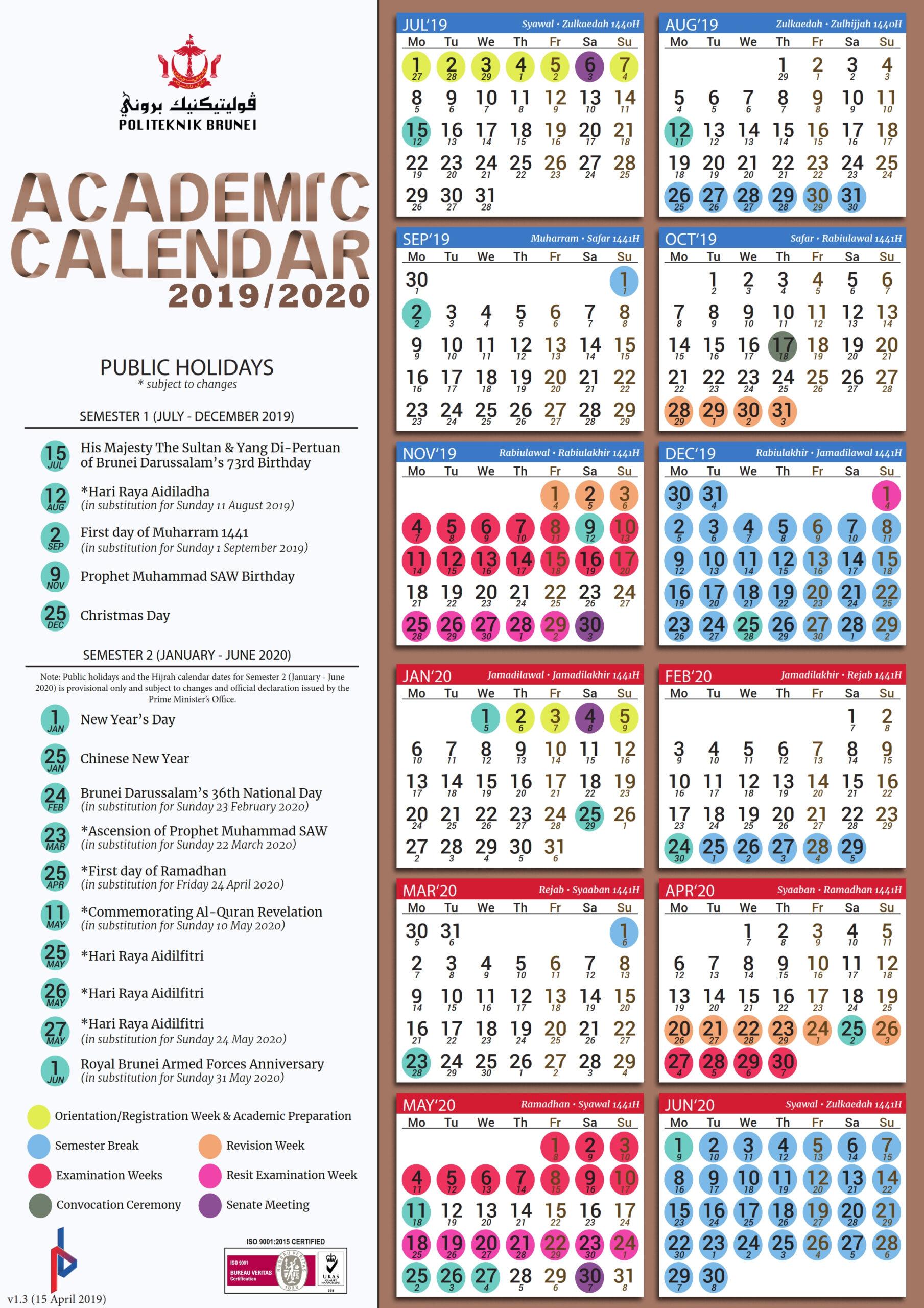 Calendar 2022 Brunei School Holiday