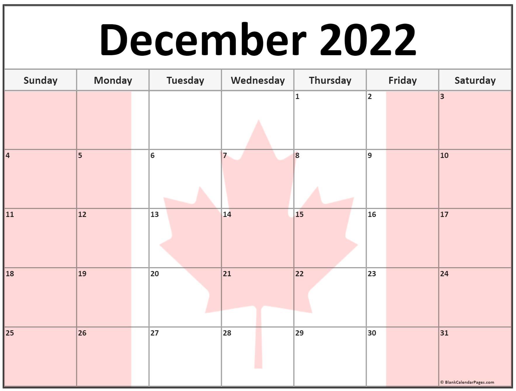 Calendar 2022 Canada Printable