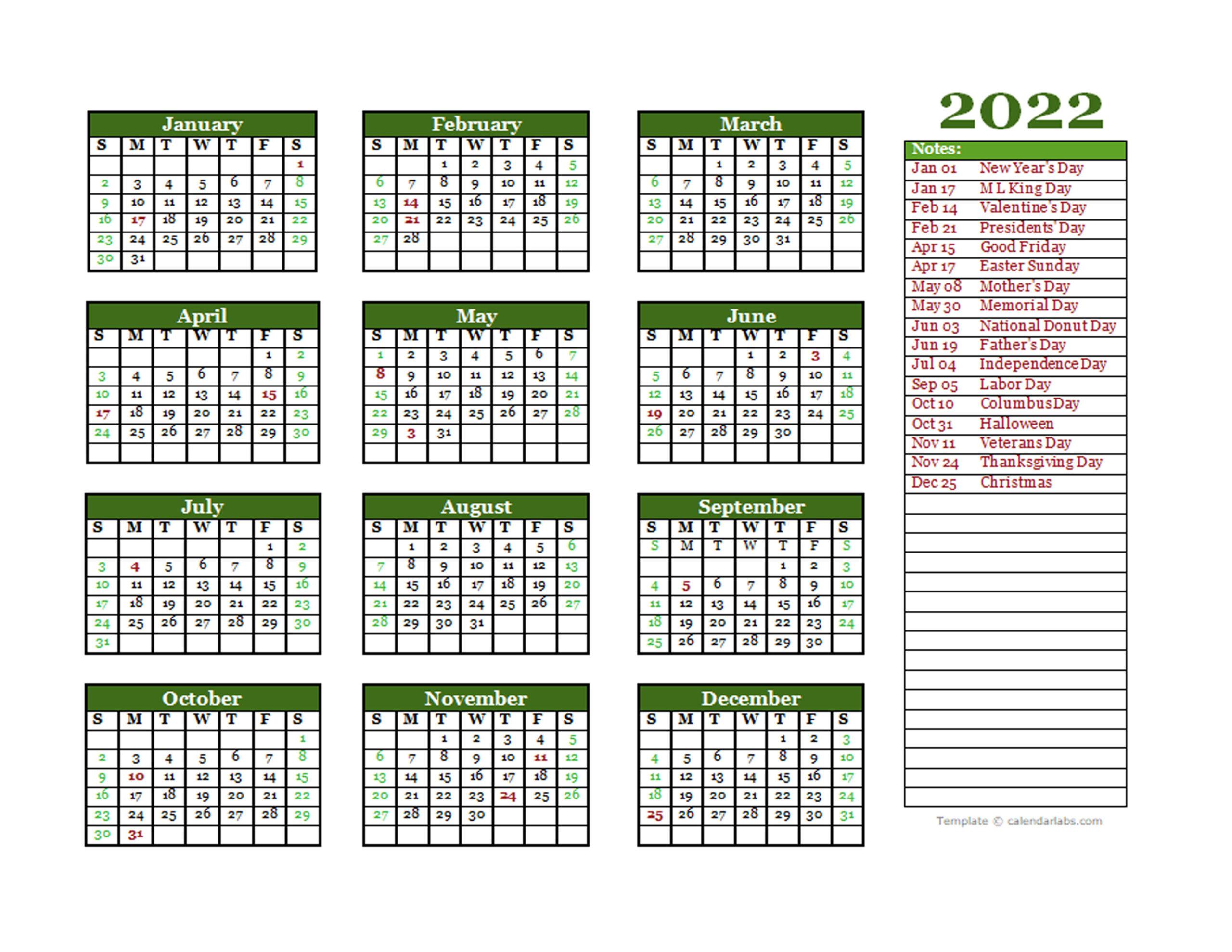Calendar 2022 Excel Template