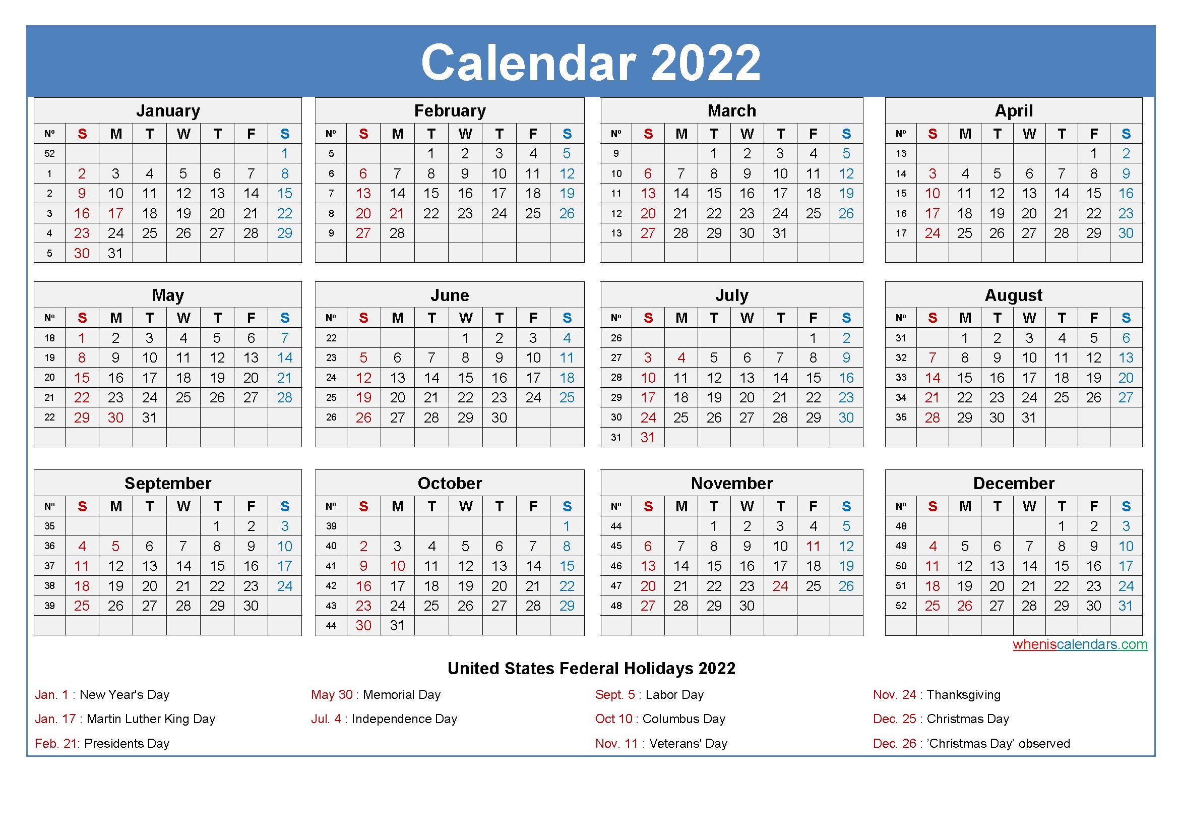 Calendar 2022 In Pdf