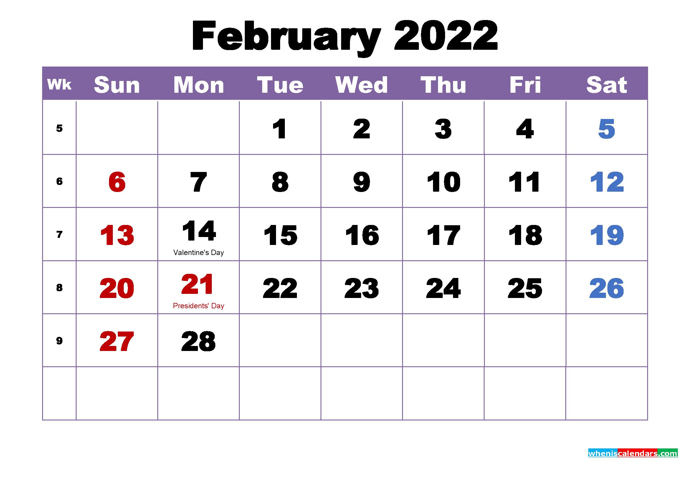 Calendar 2022 January February