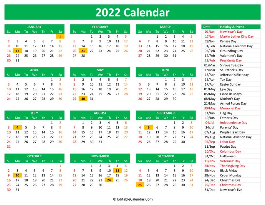 Calendar 2022 Printable With Holidays
