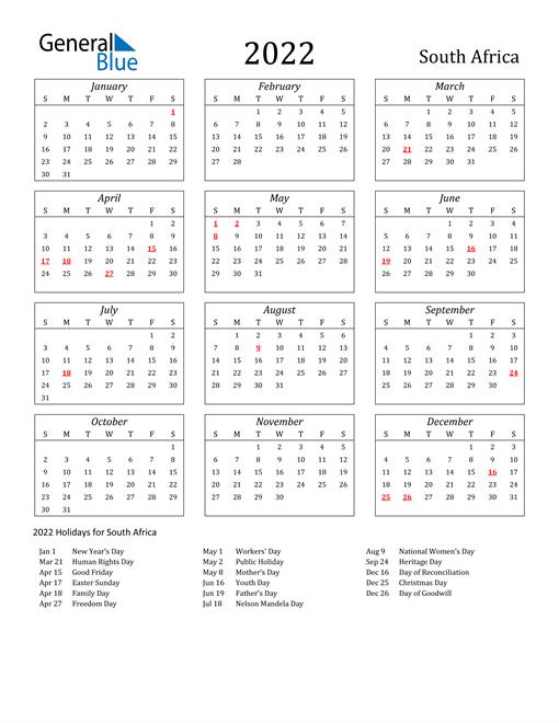 Calendar 2022 South Australia