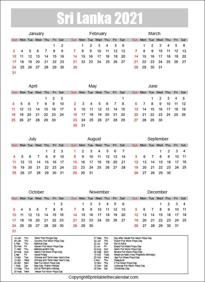 Calendar 2022 Sri Lanka