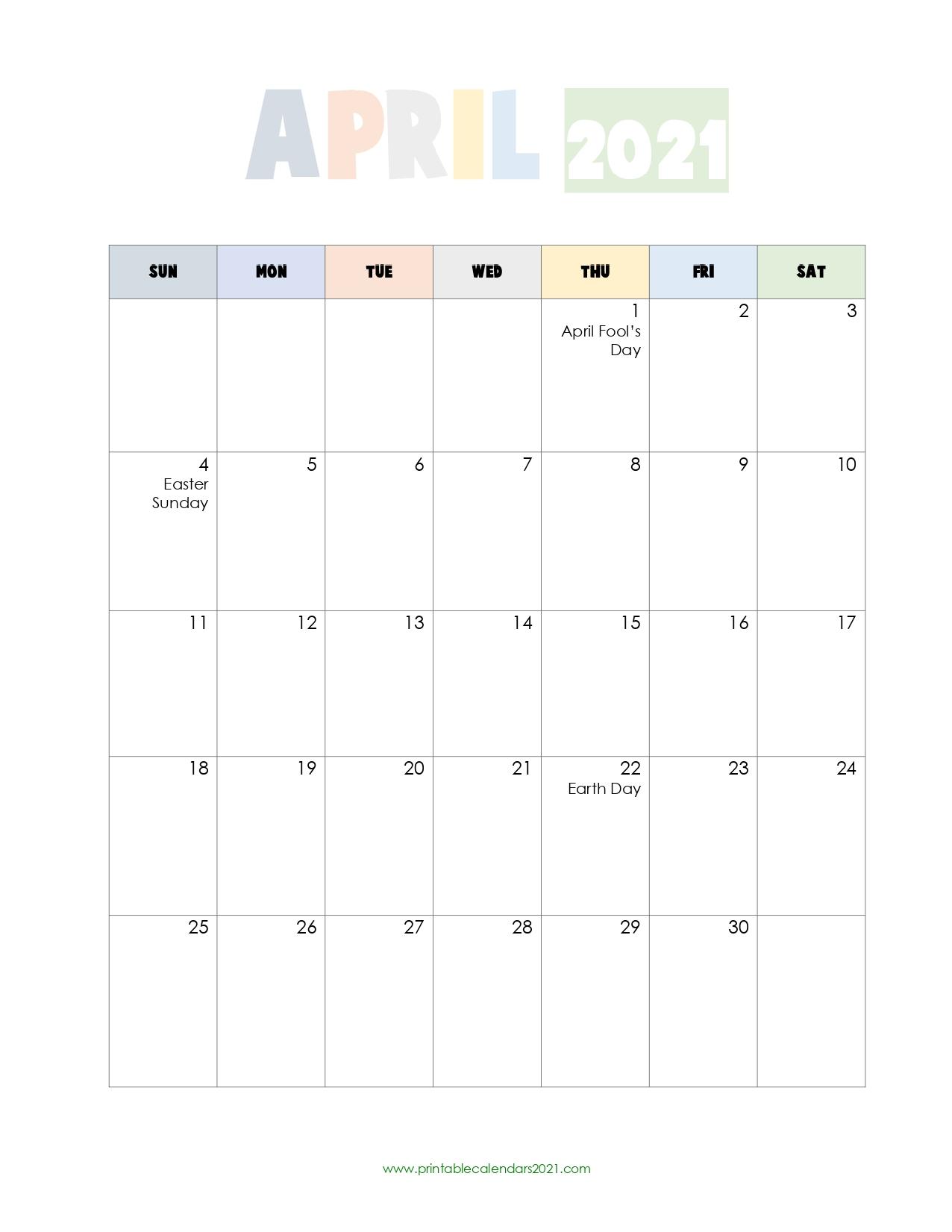 Calendar April 2021 - April 2022