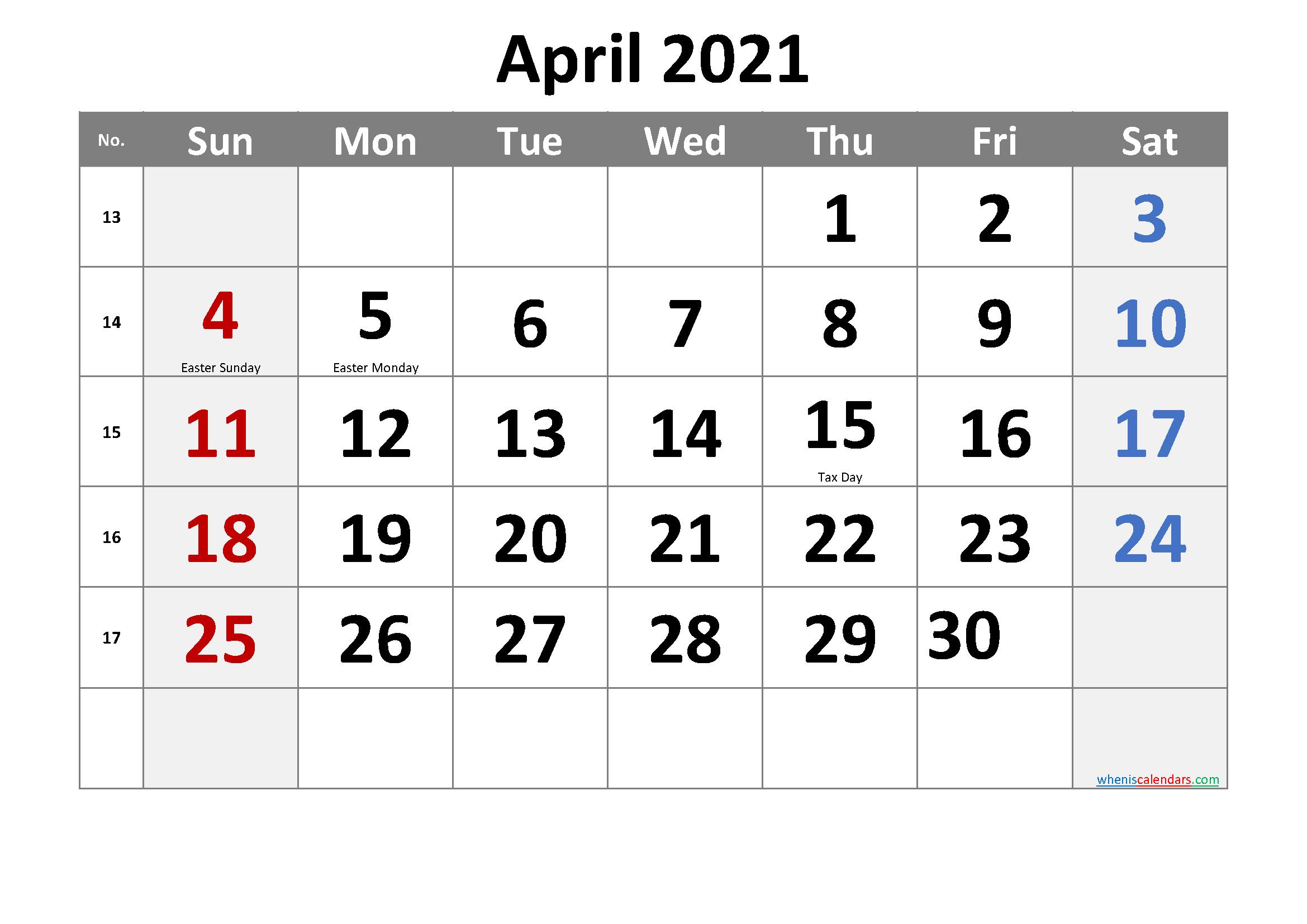 Calendar April 2021 With Holidays