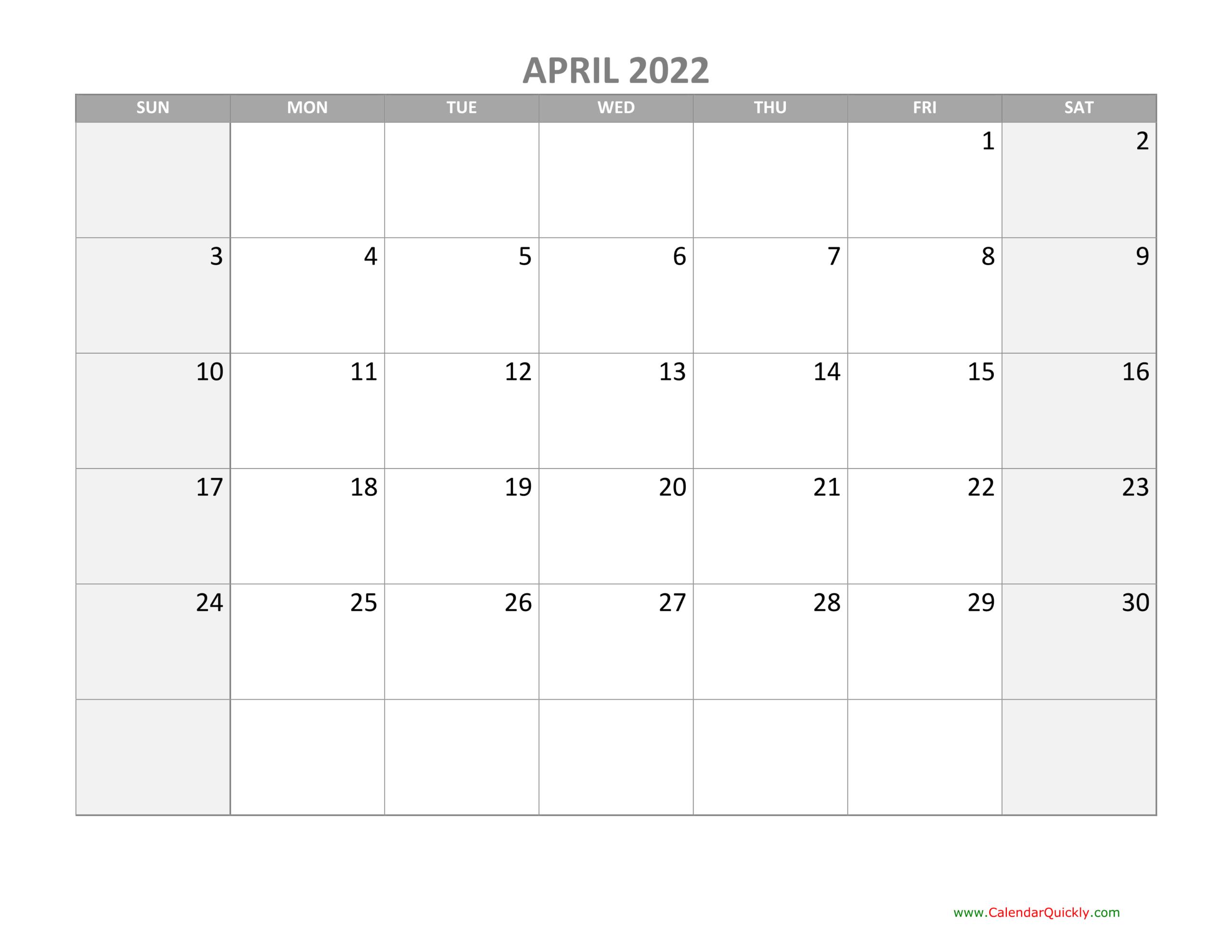 Calendar April 2022 Canada