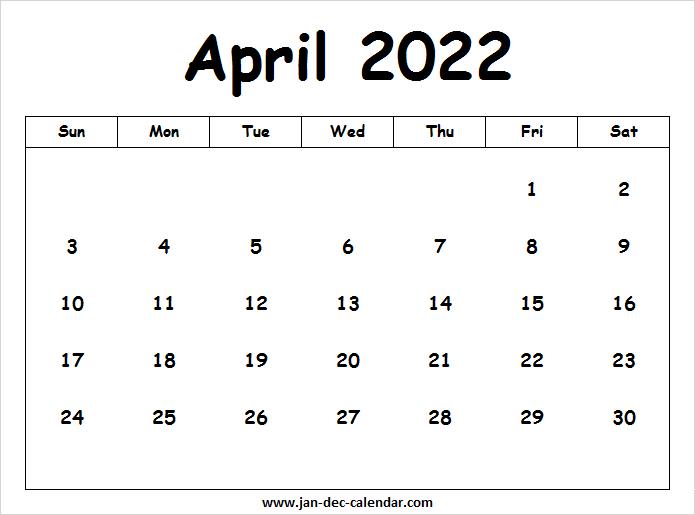 Calendar April 2022 Printable