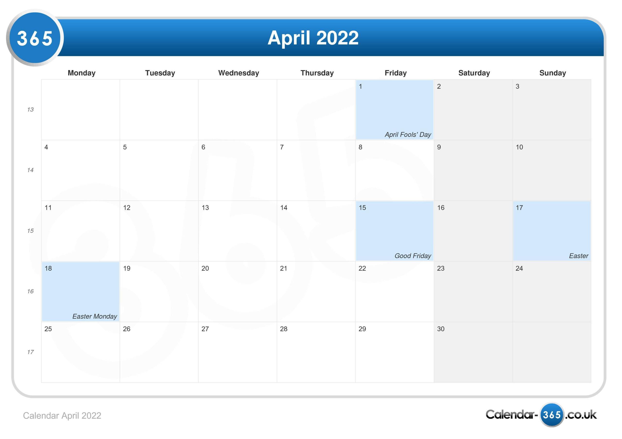 Calendar April 2022