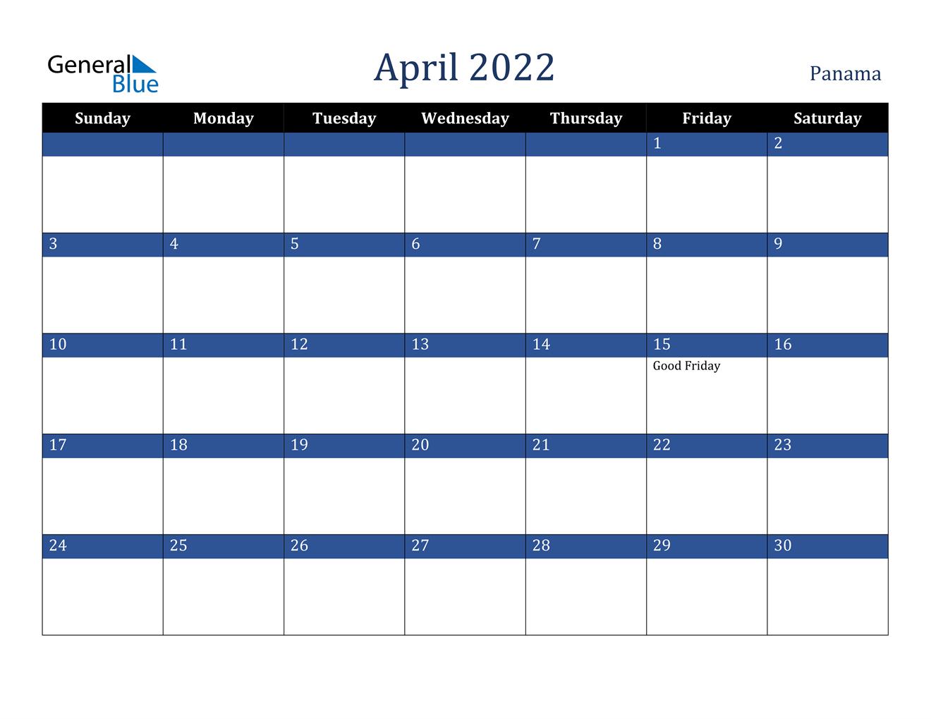 Calendar April 2022 With Holidays