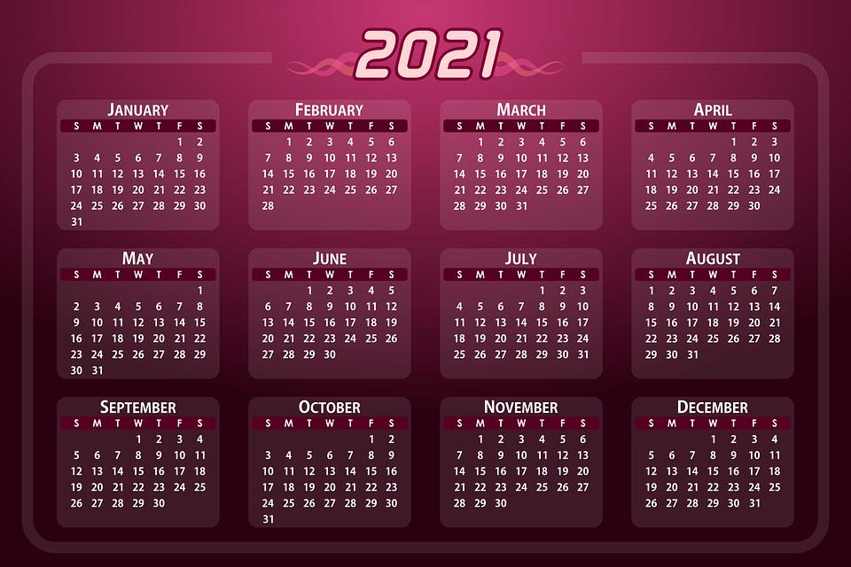 Calendar Days In 2021