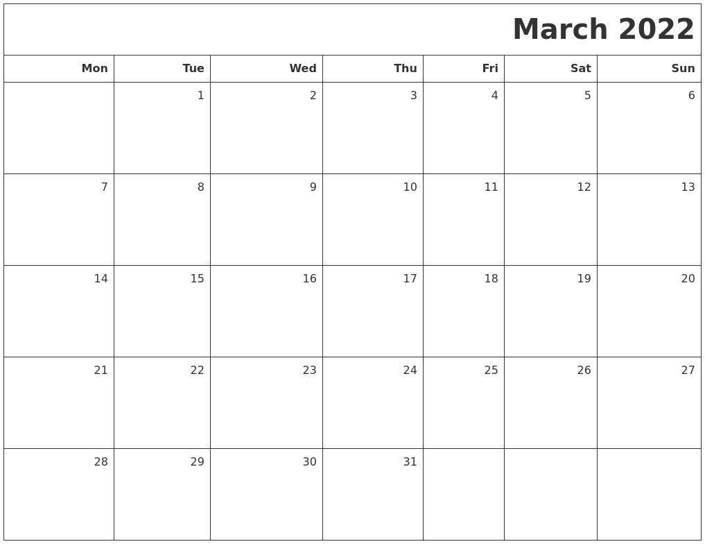 Calendar March And April 2022