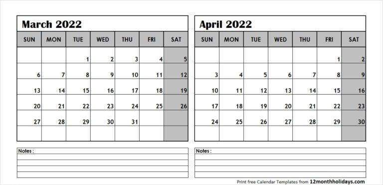 Calendar March April 2022