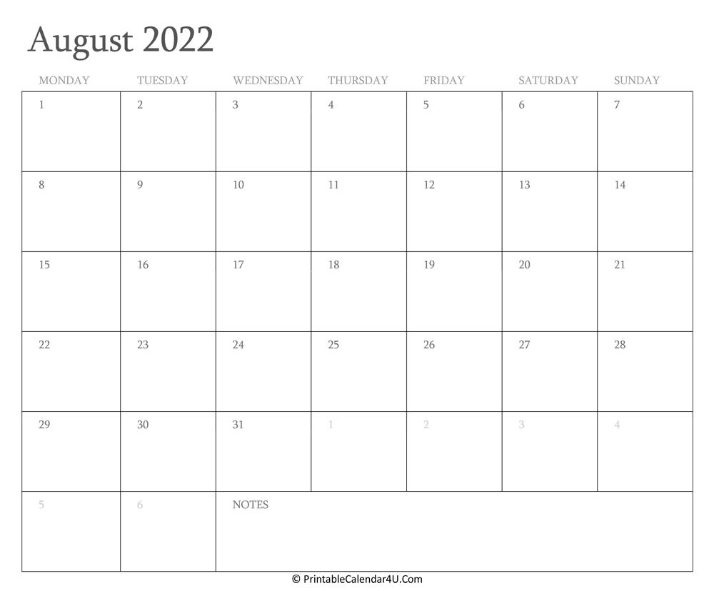 Calendar Of August 2022