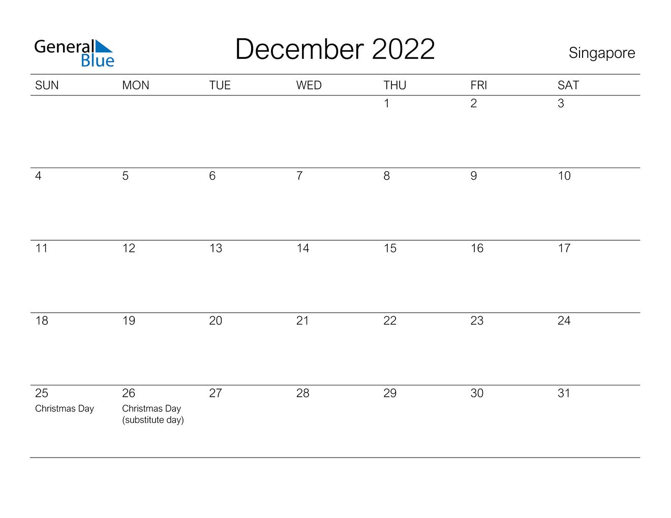 Calendar Of December 2022