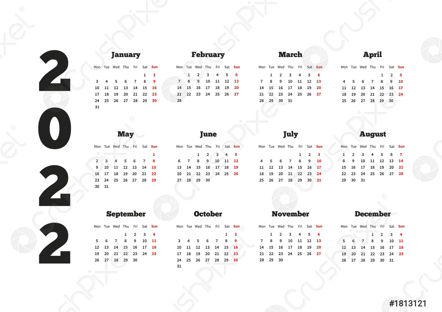 Calendar On 2022 Year With Week Starting From Monday, A4