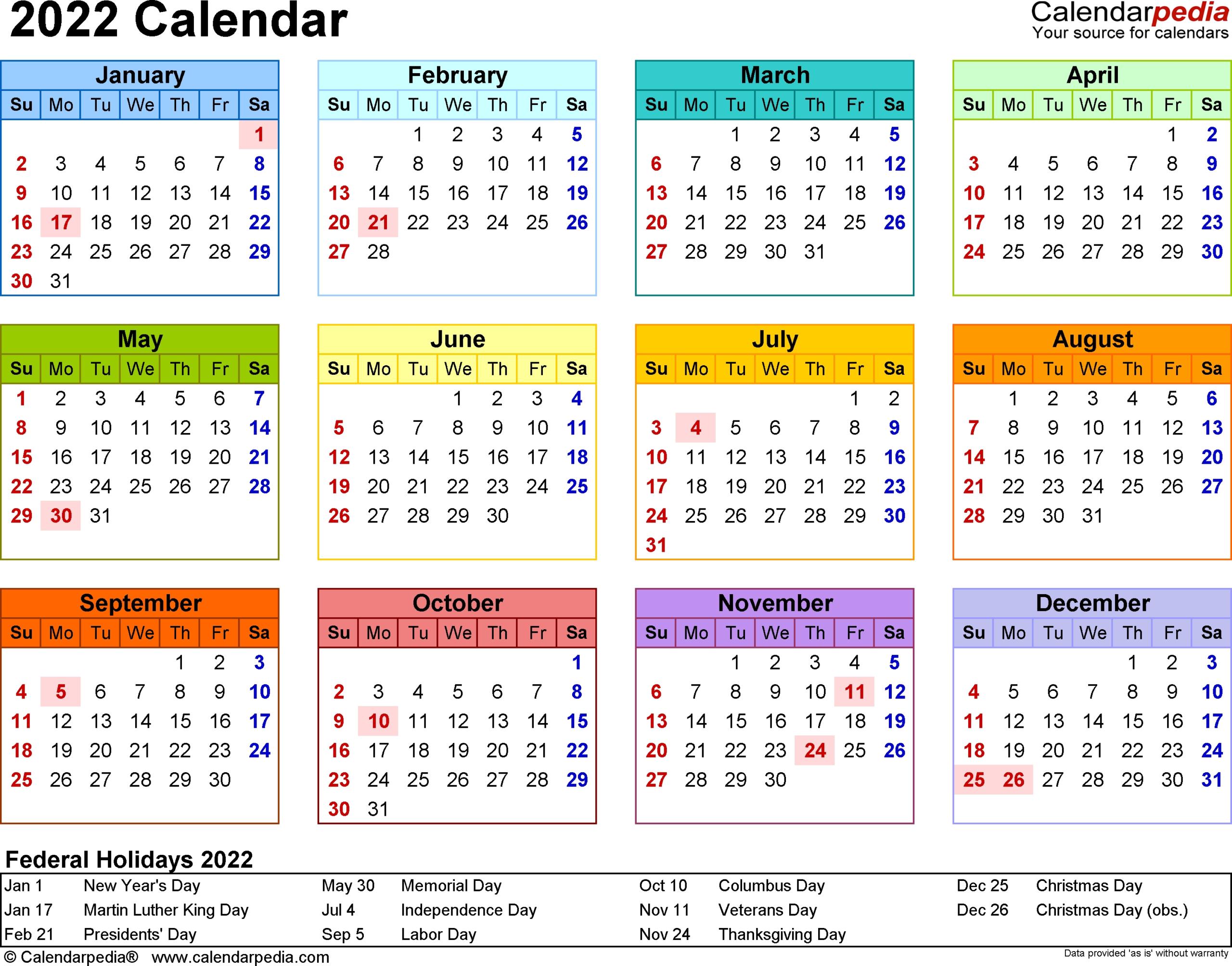 Calendar Year At A Glance - Calendar Inspiration Design