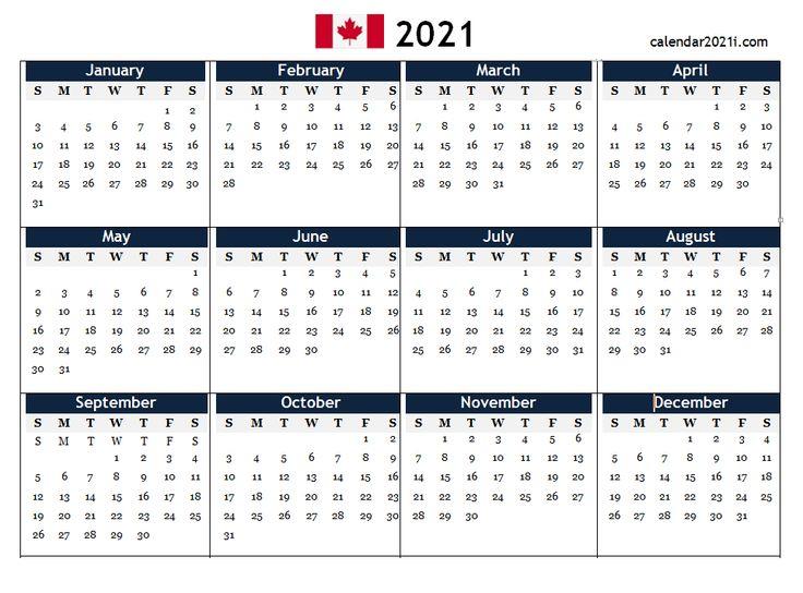 Canada 2021 Pdf Calendar