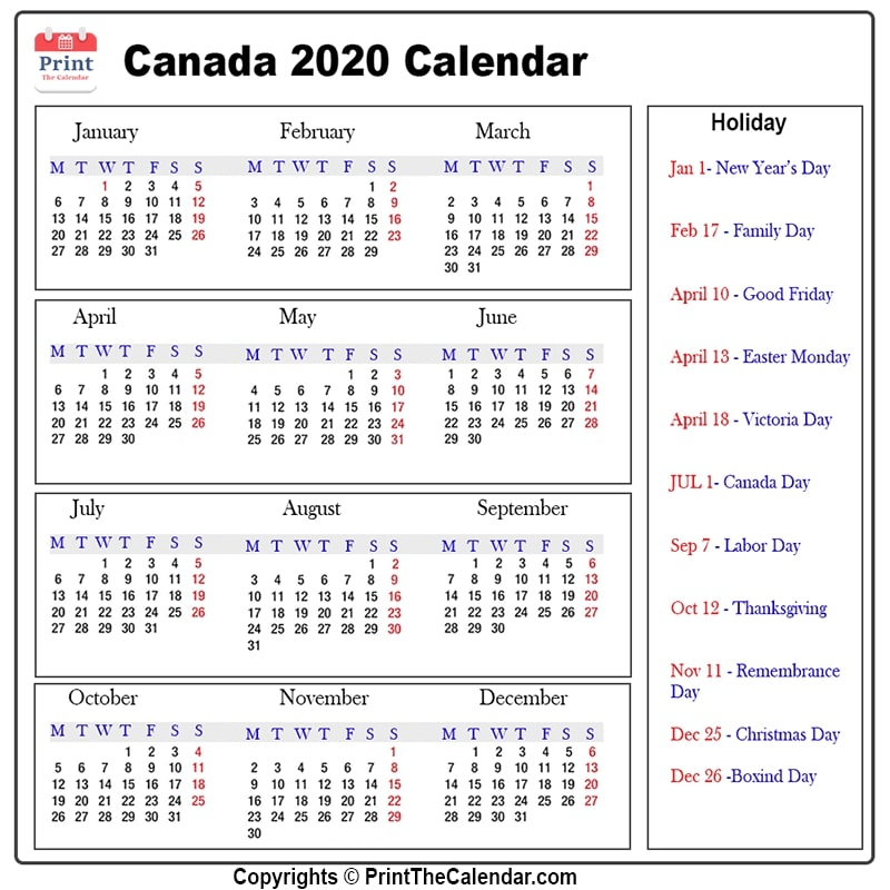 [%Canada Holidays 2020 [2020 Calendar With Canada Holidays]|2022 Calendar For Canada|2022 Calendar For Canada%]