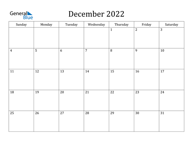 December 2022 Calendar (Pdf Word Excel)