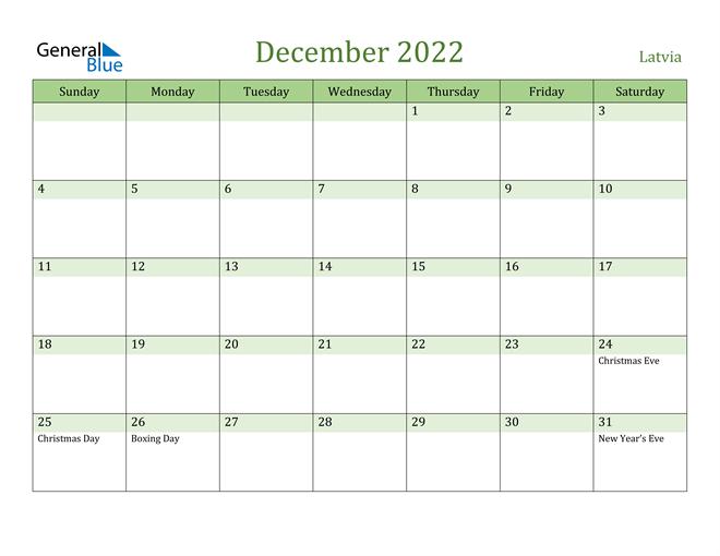 December 2022 Calendar Printable