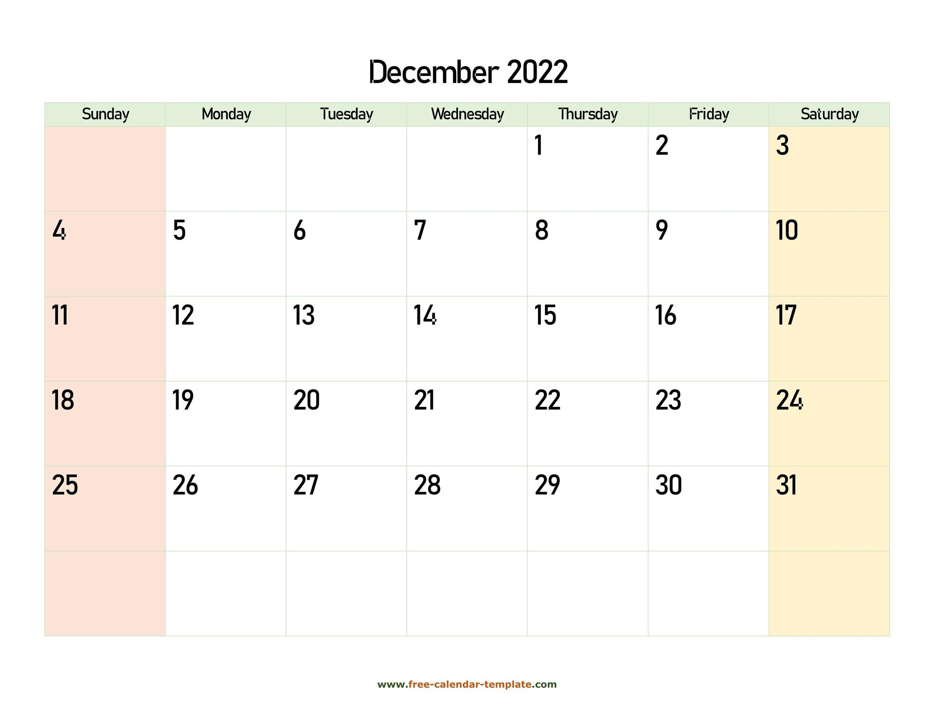 December 2022 Calendar Printable With Coloring On Weekend