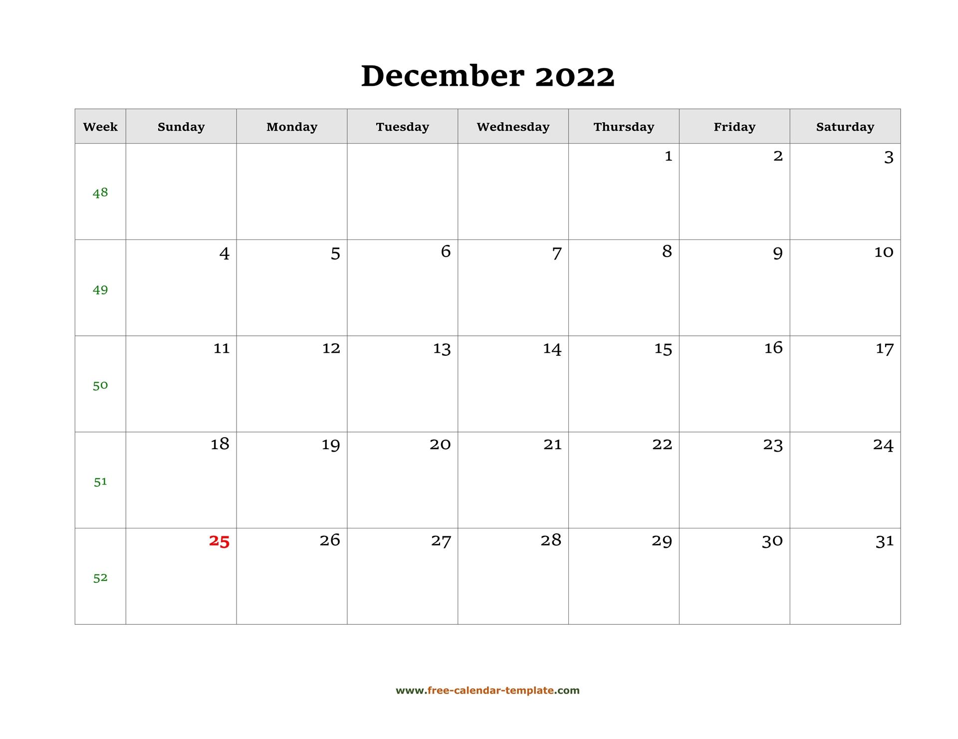December 2022 Free Calendar Tempplate