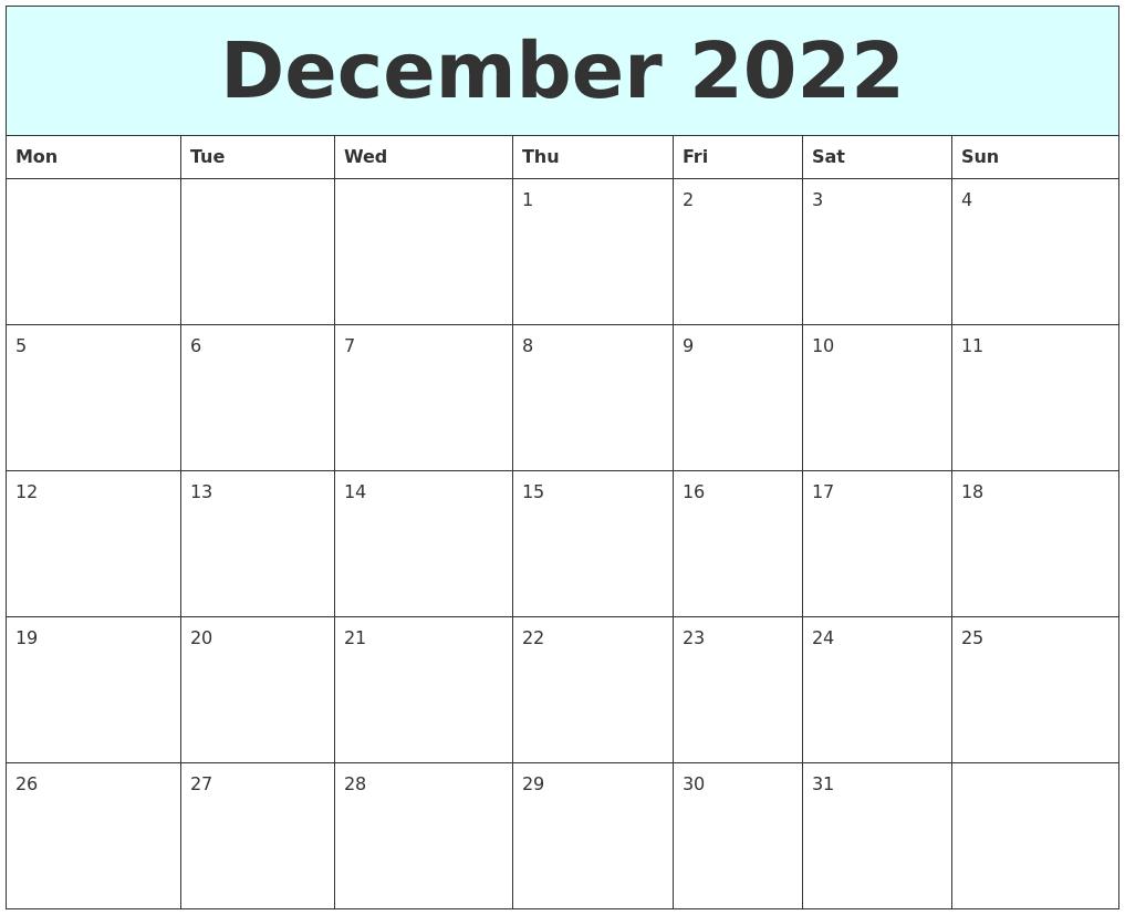 December 2022 Free Calendar