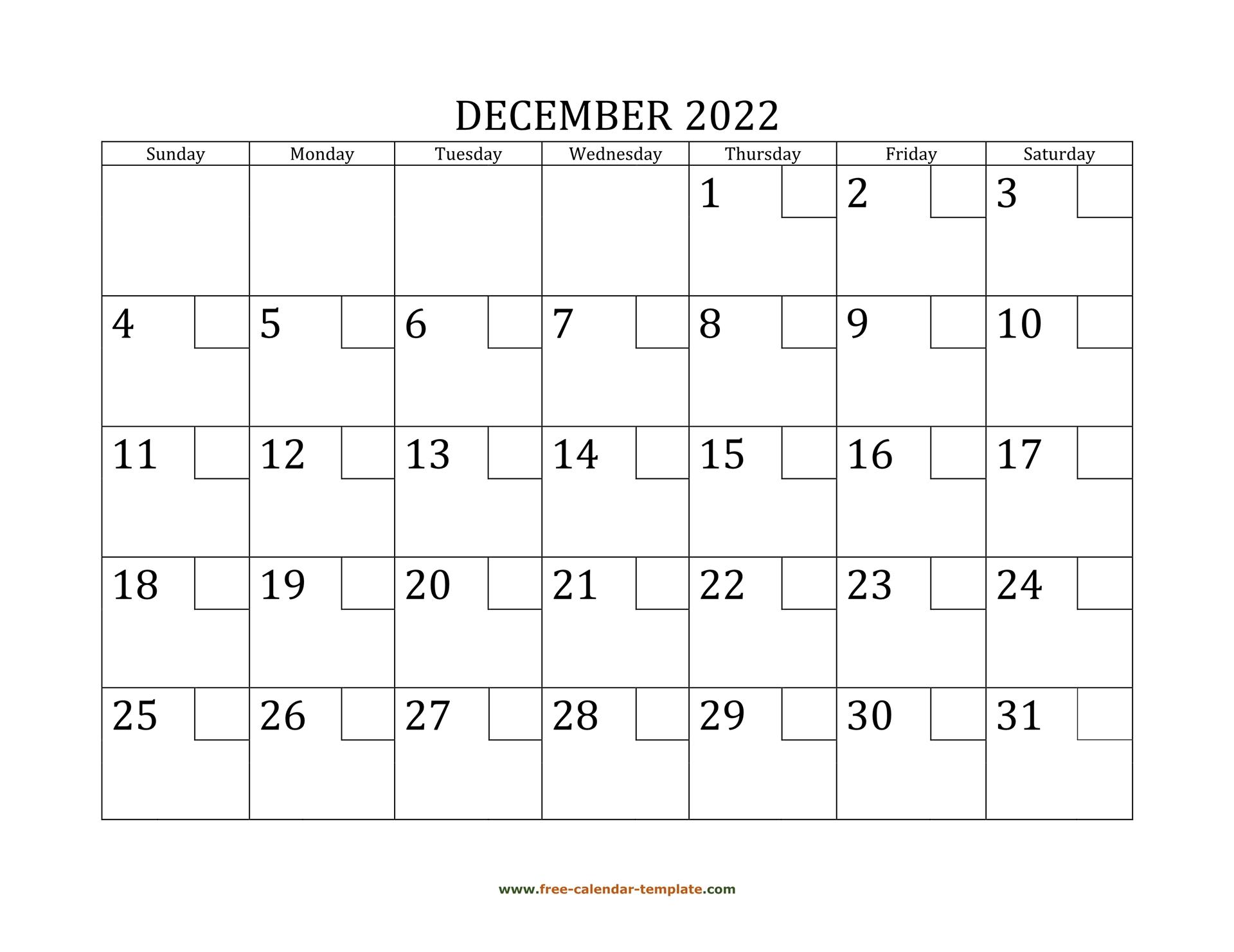December Calendar 2022 Printable With Checkboxes