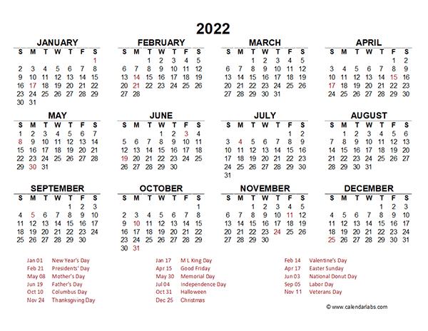 Editable 2022 Yearly Calendar