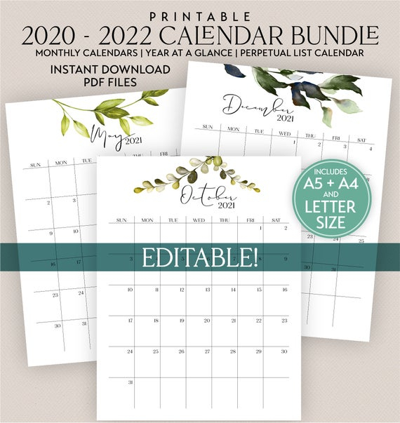 Editable Printable 2020 2021 2022 Calendar Bundle With