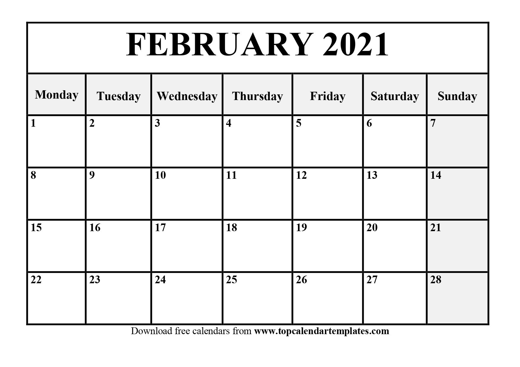 February 2021 Printable Calendar Template - Pdf, Word, Excel