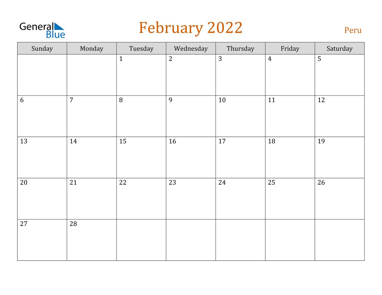February 2022 Calendar - Peru