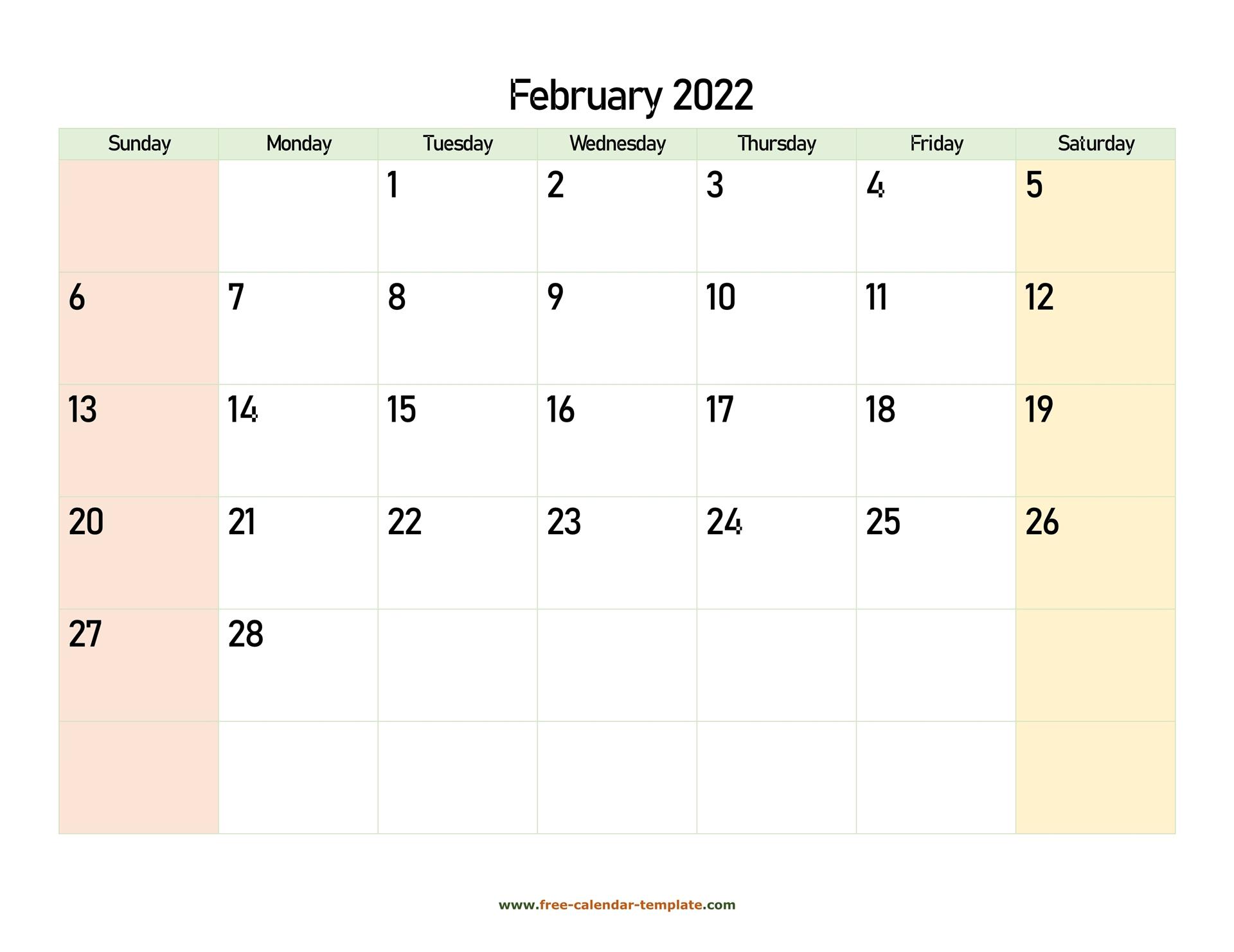 February 2022 Free Calendar Tempplate
