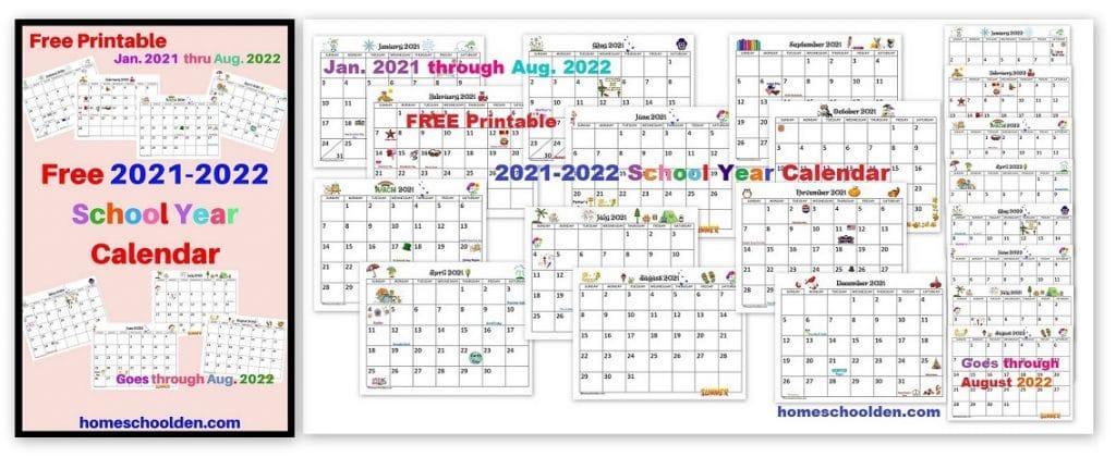 Free 2021-2022 Calendar Printable - Homeschool Den