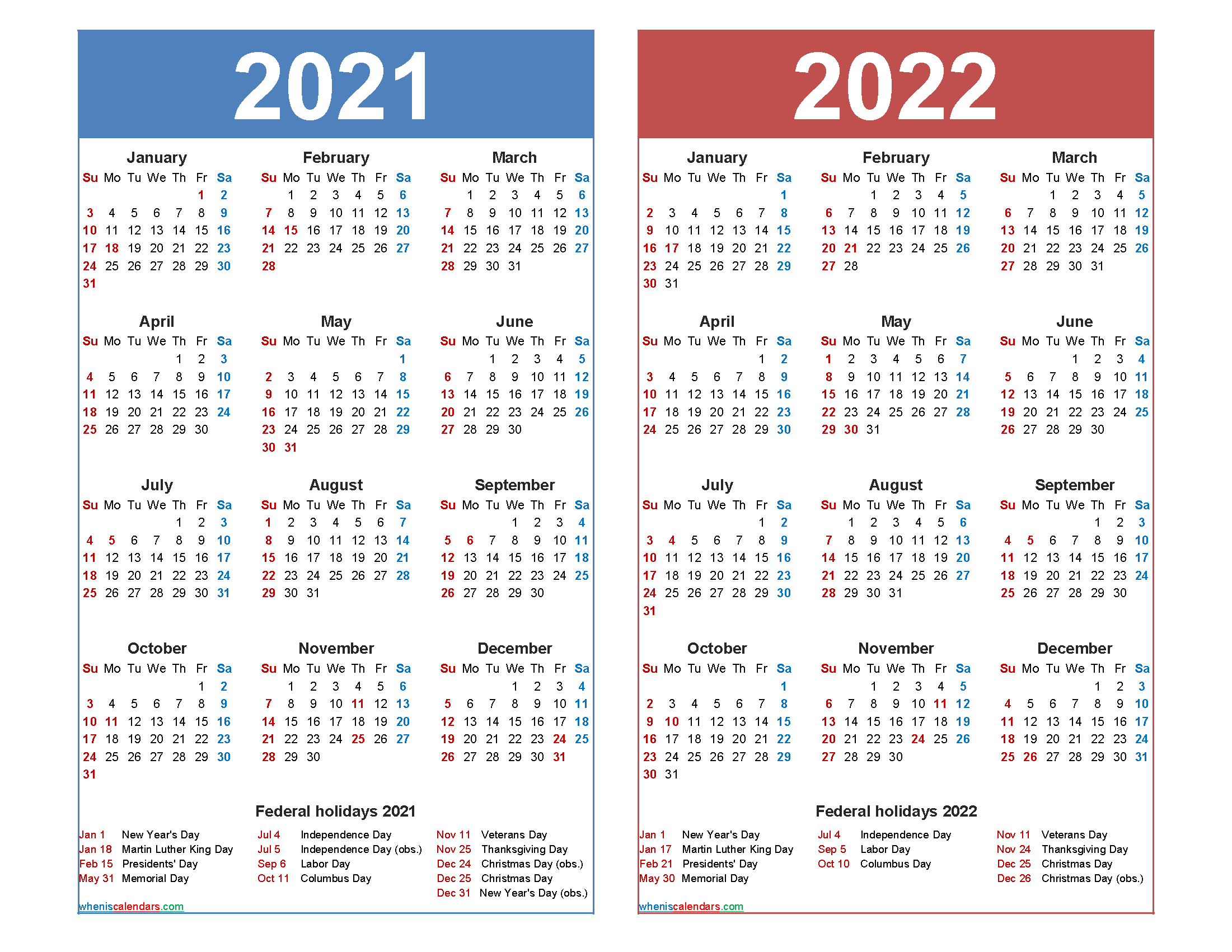Free 2021 2022 Calendar Printable With Holidays - Free Printable 2021 Monthly Calendar With Holidays