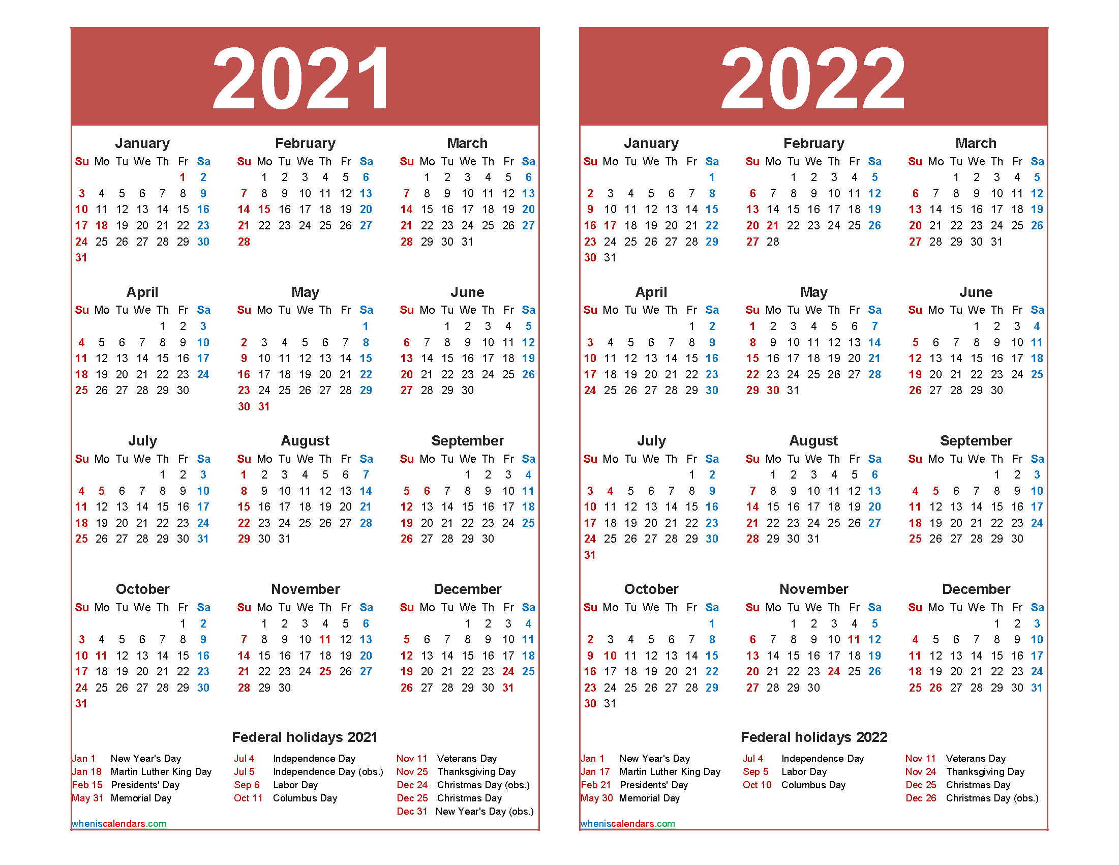 Free 2021 And 2022 Calendar Printable With Holidays - Free