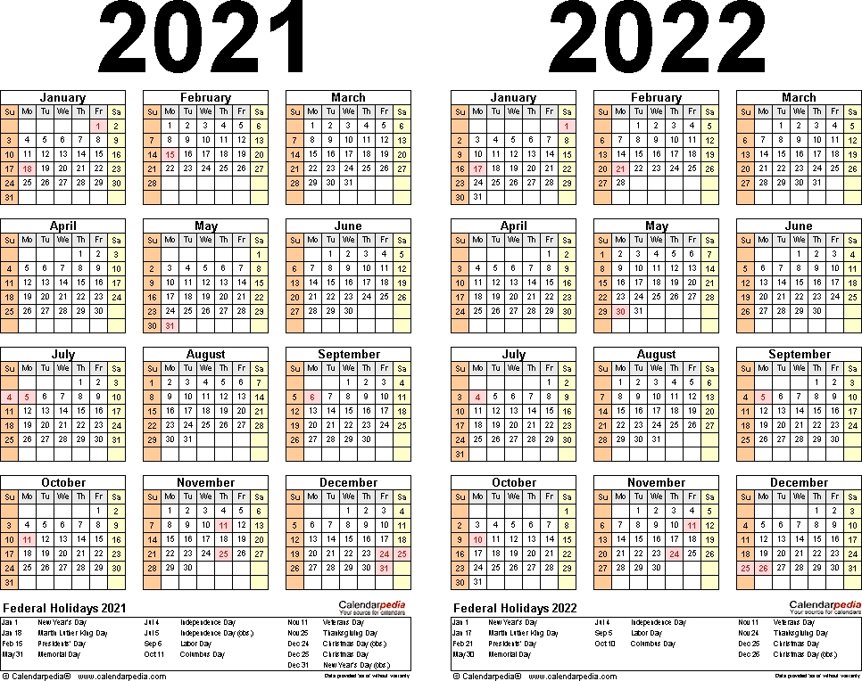 Free 2021 Yearly Calender Template - 2021 Free Printable