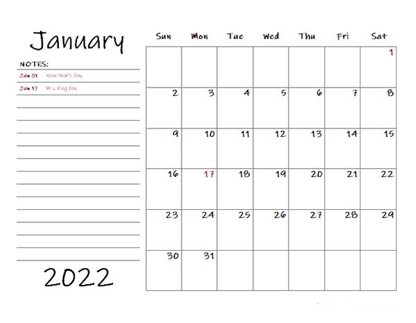 Free 2022 Monthly Calendar Templates - Calendarlabs