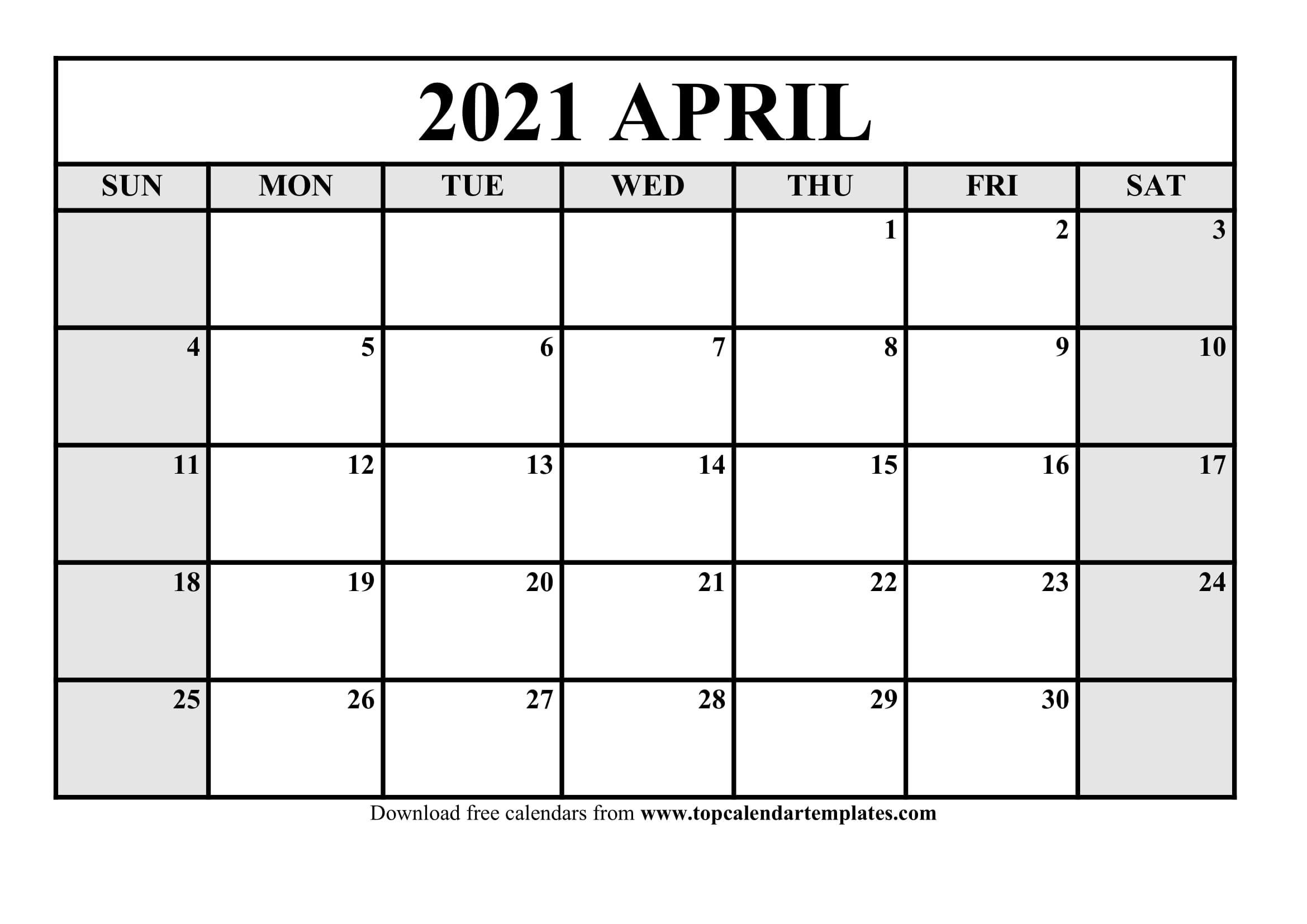 Free April 2021 Printable Calendar In Editable Format