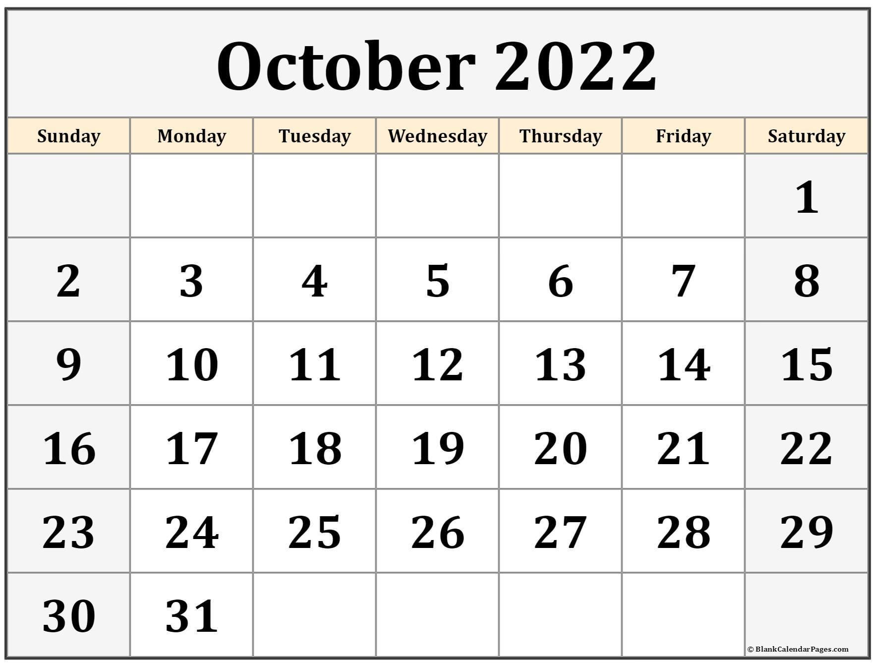 Free Blank Calendar Template 2022