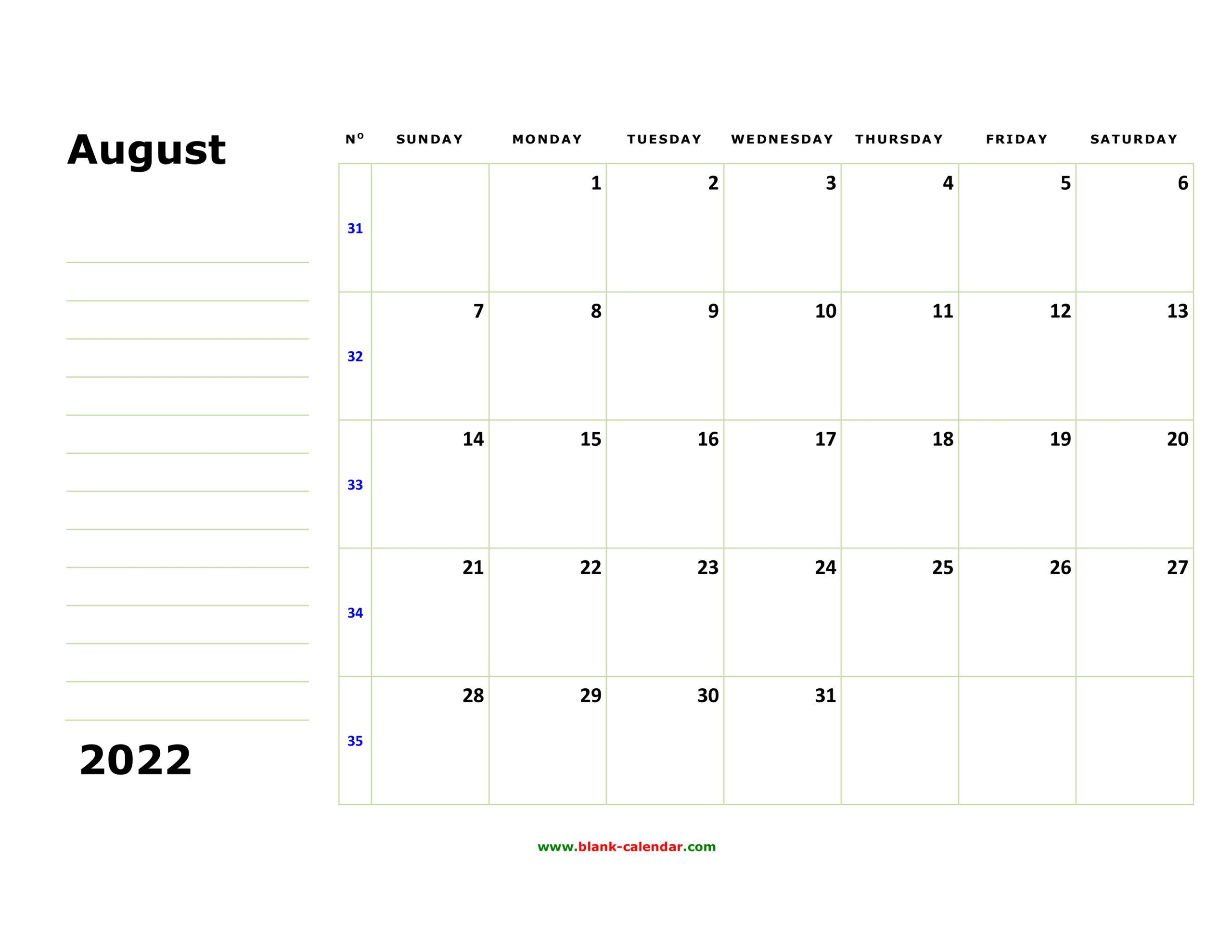 Free Download Printable August 2022 Calendar, Large Box